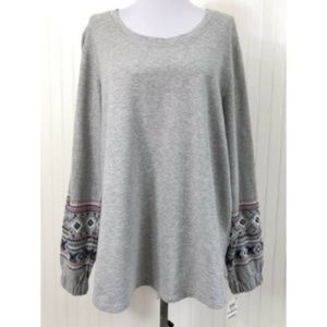 Style & Co. NWT 1X Cotton Sweatshirt Embroidered